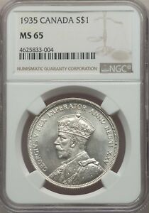 CANADA GEORGE V  1935 1 DOLLAR SILVER COIN GEM UNCIRCULATED CERTIFIED NGC MS65