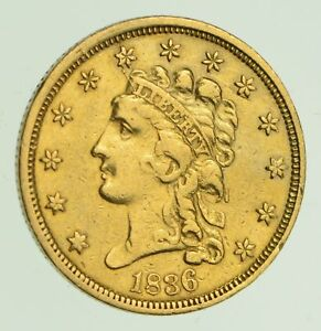 1836 $2.50 LIBERTY HEAD GOLD QUARTER EAGLE   CIRCULATED  7672