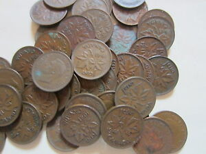 ROLL OF 1941 CANADA SMALL CENTS  50 COINS