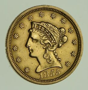 1855 $2.50 LIBERTY HEAD GOLD QUARTER EAGLE   CIRCULATED  1872
