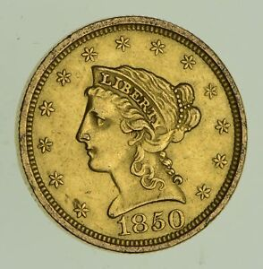 1850 $2.50 LIBERTY HEAD GOLD QUARTER EAGLE   NEAR UNCIRCULATED  4733