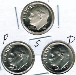 1981 THREE DIME TYPES THE SAN FRANCISCO IS FROM A PROOF SET