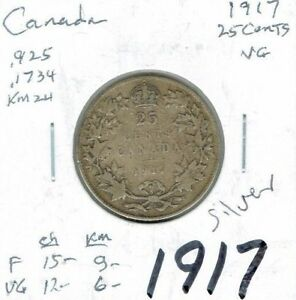 1917 CANADA GEORGE V SILVER CIRCULATED 25C QUARTER COIN