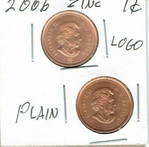 2006 UNCIRCULATED CANADIAN & 2006 RCM UNCIRCULATED ZINC CORE  2 COINS