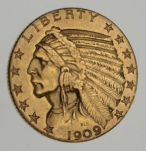 1909 D $5.00 INDIAN HEAD GOLD HALF EAGLE   CHOICE  7666