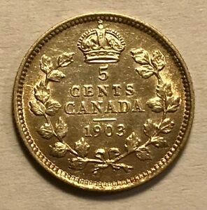 CANADA   EDWARD VII   5 CENTS   1903   ABOUT UNCIRCULATED   KEY DATE