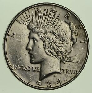 1934 D PEACE SILVER DOLLAR   NEAR UNCIRCULATED  5748