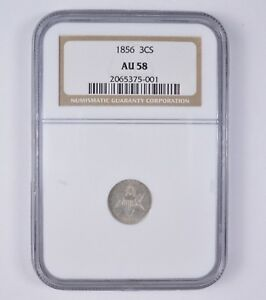 AU58 1856 SILVER THREE CENT PIECE   NGC GRADED  7114