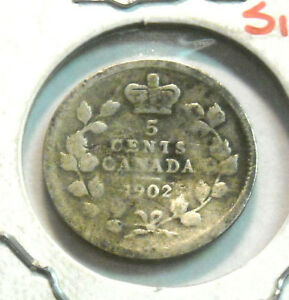 1902 CANADA FIVE CENT SILVER NICE CIRCULATED COIN BUT BENT