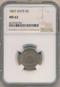 1867 RAYS 5 CENTS SHIELD NICKEL NGC MS62