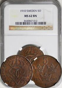 Click now to see the BUY IT NOW Price! SWEDEN 1910 5 ORE NGC MS 62. KEY DATE  TOP GRADE BY NGC AND PCGS