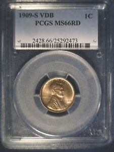 Click now to see the BUY IT NOW Price! UNCIRCULATED 1909 S VDB LINCOLN WHEAT CENT PCGS MS66 RD RED NICE COLOR & LUSTER