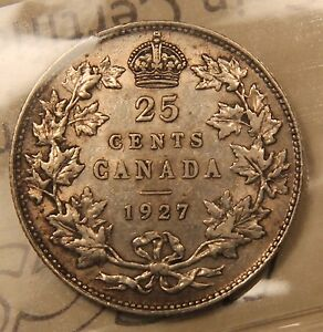 Click now to see the BUY IT NOW Price! 1927 CANADA SILVER 25 CENTS. ICCS VF 30. KEY DATE KING GEORGE V QUARTER.