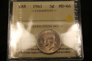 Click now to see the BUY IT NOW Price! 1941 CANADA 5 CENTS NICKEL. ICCS MS 64. BV $250