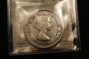 Click now to see the BUY IT NOW Price! 1954 CANADA SILVER DOLLAR MS 65 ICCS  IN GEM UNCIRCULATED.