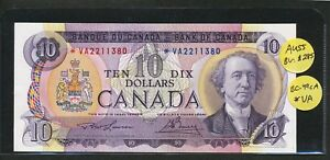 Click now to see the BUY IT NOW Price! 1971 $10 BANK OF CANADA REPLACEMENT NOTE  VA PREFIX. BC 49CA. AU55 GRADE BV $285