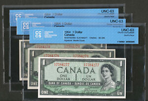 Click now to see the BUY IT NOW Price! 3 CONSECUTIVE SERIAL  1954 $1 CANADA DEVIL'S FACE NOTES. CCCS UNC63 BC 29B B C