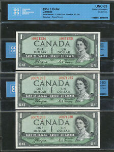Click now to see the BUY IT NOW Price! 3 SEQUENTIAL SERIAL  1954 $1 CANADA DEVIL'S FACE COYNE TOWERS CCCS UNC63 BC 29A