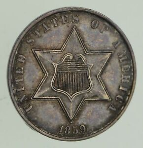 1859 SILVER THREE CENT PIECE   CIRCULATED  9637