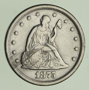 1875 S SEATED LIBERTY SILVER TWENTY CENT PIECE   CIRCULATED  3404