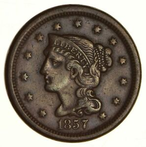 1857 BRAIDED HAIR LARGE CENT   CIRCULATED  6195