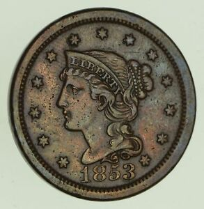1853 BRAIDED HAIR LARGE CENT   CIRCULATED  8779
