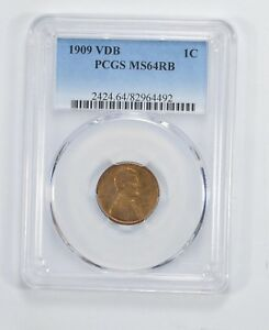 MS64 RB 1909 VDB LINCOLN WHEAT CENT   PCGS GRADED  5927