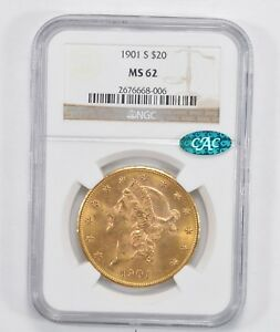 MS62 1901 S CAC $20.00 LIBERTY HEAD GOLD DOUBLE EAGLE   NGC GRADED  1974