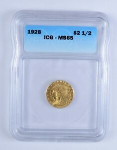 MS65 1928 $2.50 INDIAN HEAD GOLD EAGLE   ICG GRADED  3166