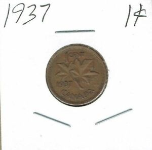 1937 CANADIAN CIRCULATED GEORGE VI ONE CENT COIN