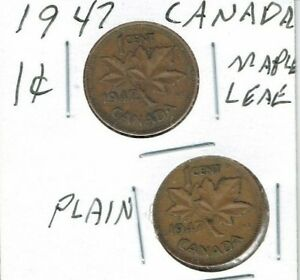 1947 MAPLE LEAF  & PLAIN CANADIAN CIRCULATED GEORGE VI  2  ONE CENT COINS