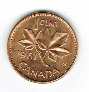 1961 CANADIAN UNCIRCULATED ONE CENT ELIZABETH II COIN