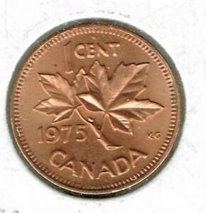 1975 CANADIAN BRILLIANT UIRCULATED ONE CENT ELIZABETH II COIN