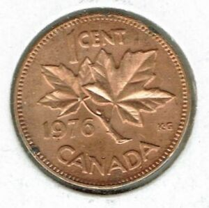 1976 CANADIAN UNCIRCULATED ONE CENT ELIZABETH II COIN