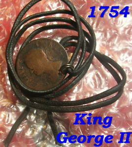 1754 GEORGE II FARTHING NOT HALF PENNY TOKEN COLONIAL COIN JEWELRY DETECTOR FIND