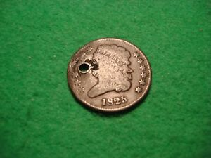UNITED STATES 1825 CLASSIC HEAD 1/2 HALF CENT HOLED  COLLECTABLE FREEPOST [D 28]