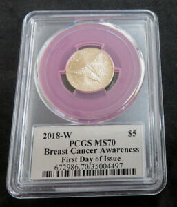 2018  W $5.00 ROSE GOLD BREST CANCER COIN PCGS M70 FIRST DAY OF ISSUE CLEVELAND
