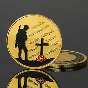 GOLD PLATED 1914 1918 THE GREAT WAR VERSAILLES PASSCHENDAELE COMMEMORATIVE COIN