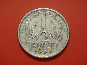 INDIA REPUBLIC 1/2 RUPEE 1954
