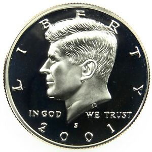 2001 S DEEP CAMEO CLAD PROOF KENNEDY HALF DOLLAR  B02