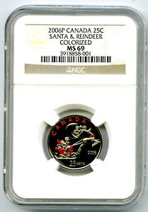 Click now to see the BUY IT NOW Price! 2006 P CANADA 25 CENT NGC MS69 SANTA AND REINDEER QUARTER COLORIZED TOP POP 1