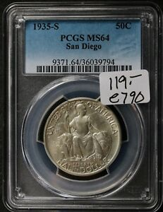 1935 S SAN DIEGO HALF.  COMMEMORATIVE.  IN PCGS HOLDER.   MS64.   E790