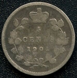 1901 CANADA 5 CENTS  1.16 GRAMS .925 SILVER
