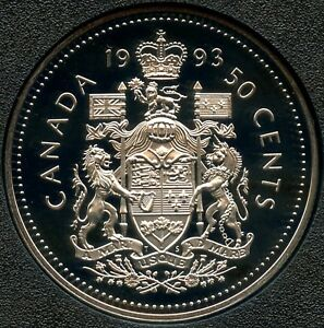 1993 CANADA PROOF UNCIRCULATED 50 CENT COIN