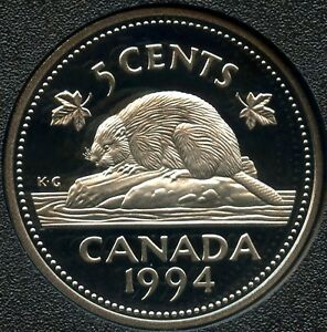 1994 CANADA FROSTED PROOF 5 CENT COIN