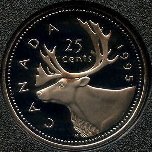 1995 CANADA PROOF UNCIRCULATED 25 CENT COIN