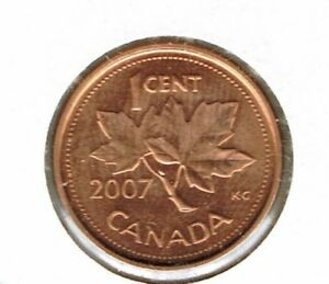 2007 CANADIAN BRILLIANT UNCIRCULATED ONE CENT ELIZABETH II COIN