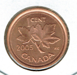 2005 CANADIAN BRILLIANT UNCIRCULATED  ONE CENT ELIZABETH II COIN