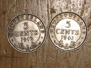NEWFOUNDLAND 1941 C AND 1942 C SILVER 5 CENTS COIN LOT FINE NICE