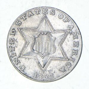 1858 SILVER THREE CENT PIECE   CIRCULATED  1314